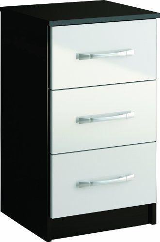 Birlea Furniture Ltd Lynx Nachttisch 3 Schubladen 69x40x38 cm Furnier Hochglanz 1 Stück Schwarz / Weiß