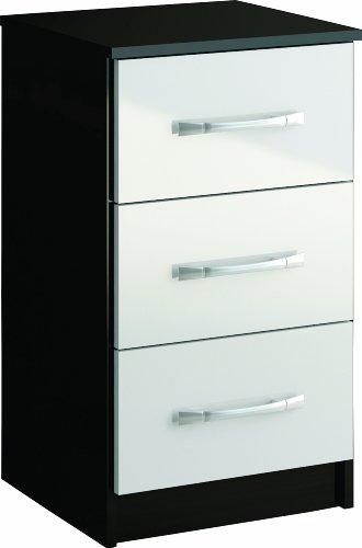 birlea furniture ltd lynx nachttisch 3 schubladen 69x40x38 cm furnier hochglanz 1 st ck schwarz. Black Bedroom Furniture Sets. Home Design Ideas