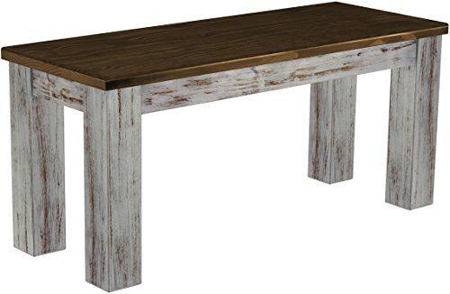 Brasilmöbel Sitzbank 'Rio Classico' 100 cm, Pinie Massivholz, Farbton Shabby LH - Eiche antik