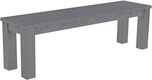 Brasilmöbel Sitzbank 'Rio Classico' 150 cm, Pinie Massivholz, Farbton Seidengrau