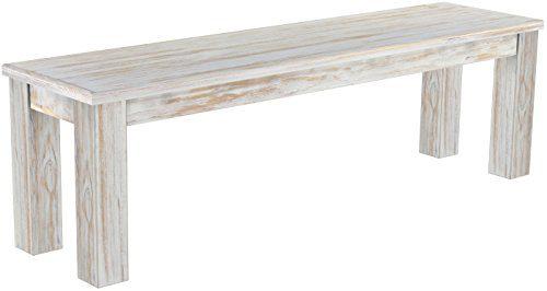 Brasilmöbel Sitzbank 'Rio Classico' 150 cm, Pinie Massivholz, Farbton Shabby Brasil
