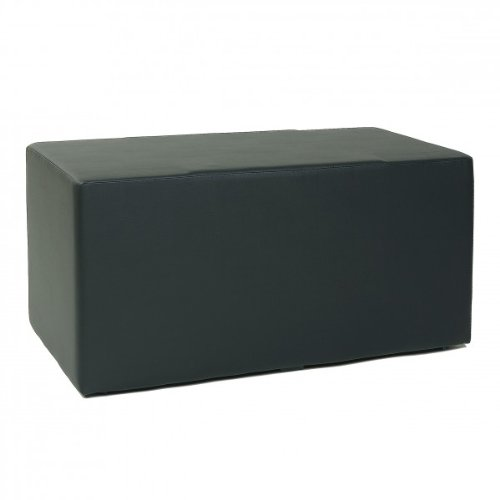 Design Sitzwürfel Kubus II Hocker Kunstleder Sitzbank 90x45x45 cm modern in schwarz