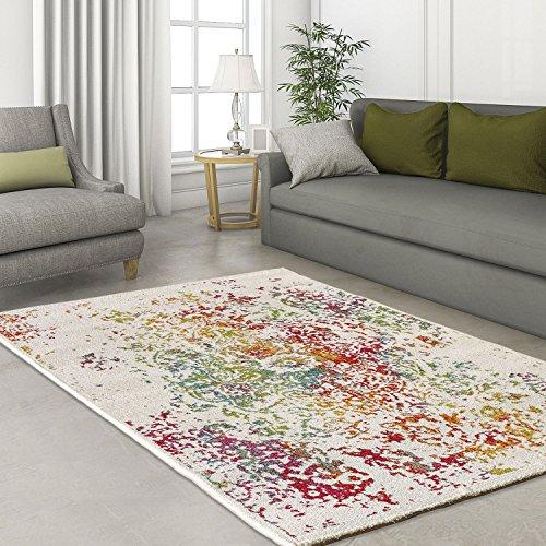 designer modern hochwertig teppich classic ornament farbklex bunt gr n t rkis rot orange ko tex. Black Bedroom Furniture Sets. Home Design Ideas