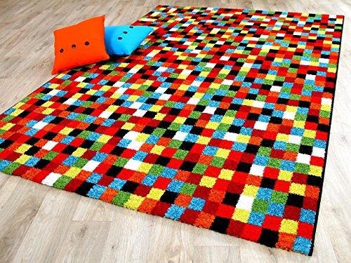 designer teppich funky pixel rot bunt in 4 gr en m bel24 xxl m bel. Black Bedroom Furniture Sets. Home Design Ideas