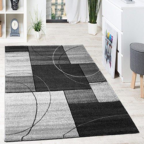 moderner designer teppich mit blumenmuster kariert konturenschnitt in grau schwarz vimoda. Black Bedroom Furniture Sets. Home Design Ideas