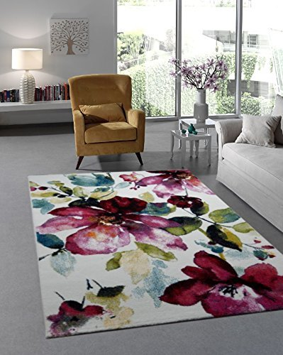 designer teppich modern blumen muster trendiger kurzflor teppich rosa lila bunt 160x230 cm. Black Bedroom Furniture Sets. Home Design Ideas