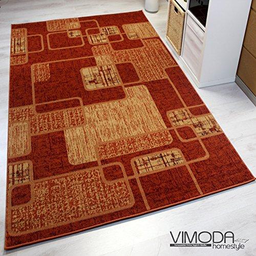designer teppich modern kariert retro muster meliert in orange rot ko tex zertifiziert. Black Bedroom Furniture Sets. Home Design Ideas