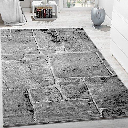designer teppich modern trendig meliert steinoptik mauer muster wohnzimmer grau gr sse 80 150. Black Bedroom Furniture Sets. Home Design Ideas