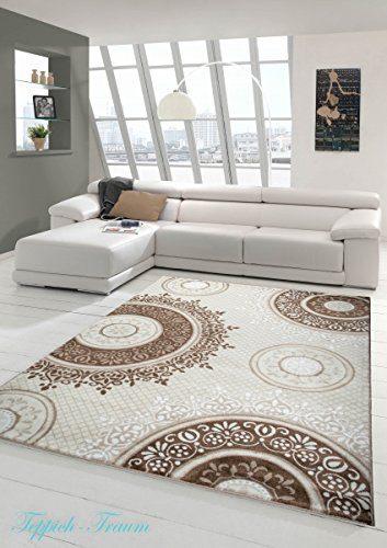 Designer Teppich Moderner Teppich Wohnzimmer Teppich Klassisch gemustert Kreis Ornamente in Braun Taupe Beige Creme Meliert Größe 80x150 cm