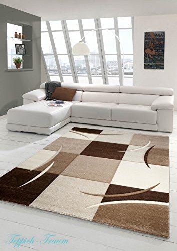 Designer Teppich Moderner Teppich Wohnzimmer Teppich Kurzflor Teppich mit Konturenschnitt Karo Muster Braun Beige Mocca Größe 120x170 cm
