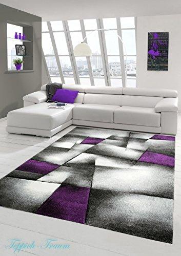 ... Konturenschnitt-Karo-Muster-Lila-Grau-Weiss-Schwarz-Gre-200-x-290-cm-0
