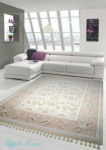 Designer Teppich Moderner Teppich Wollteppich Meliert Wohnzimmerteppich Wollteppich Blumenmuster Creme Beige Rosa Größe 80 x 300 cm