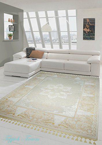 Designer Teppich Moderner Teppich Wollteppich Meliert Wohnzimmerteppich Wollteppich Ornament Creme Beige Größe 200 x 290 cm