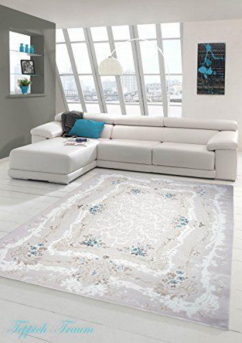 Designer Teppich Moderner Teppich Wollteppich Meliert Wohnzimmerteppich Wollteppich Ornament Türkis Beige Creme Größe 80x150 cm