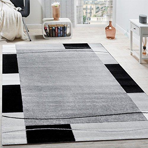 Designer Teppich Wohnzimmer Teppich Bordüre in Grau Schwarz Creme Preishammer, Grösse:160x220 cm
