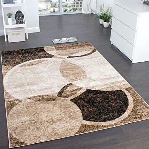 Designer Teppich Wohnzimmer Teppich Kreis Muster in Braun Beige Preishammer, Grösse:160x220 cm