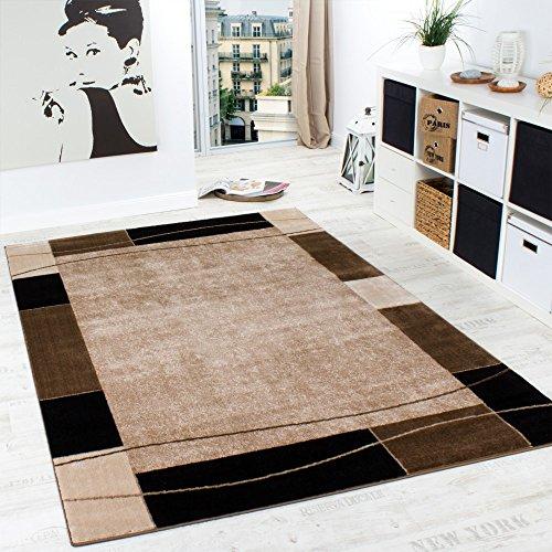 Designer Teppich Wohnzimmer Teppich Modern Bordüre in Braun Beige Preishammer, Grösse:160x220 cm