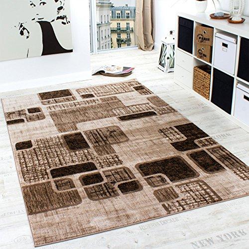 Designer Teppich Wohnzimmer Teppich Retro Muster in Braun Beige Preishammer, Grösse:160x220 cm