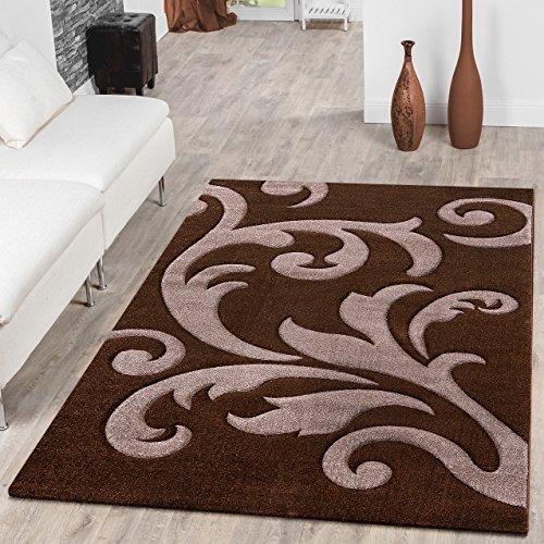 Designer Teppich Wohnzimmerteppich Levante Modern mit Floral Muster Braun Beige, Größe:160x230 cm