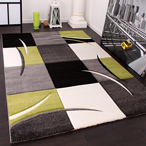 designer teppich mit konturenschnitt karo muster gr n schwarz gr sse 120x170 cm m bel24. Black Bedroom Furniture Sets. Home Design Ideas