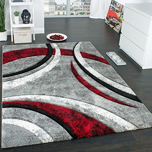 designer teppich mit konturenschnitt muster gestreift grau schwarz rot meliert gr sse 200x290. Black Bedroom Furniture Sets. Home Design Ideas