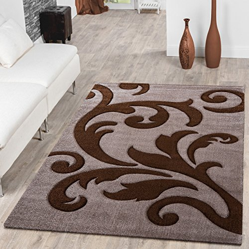Designer Wohnzimmerteppich Levante Modern mit Floral Muster Beige Braun, Größe:200x290 cm