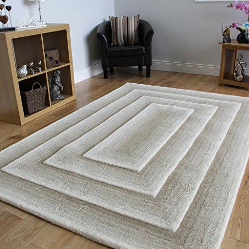 Essence - luxuriöser handgeschnittener stylischer dicker weicher Wohnzimmerteppich aus 100% Wolle in Beige, in 2 Größen erhältlich