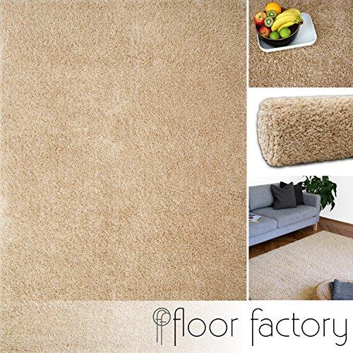 Hochflor Shaggy Teppich Colors beige 200x290cm - pflegeleichter und günstiger Langflorteppich