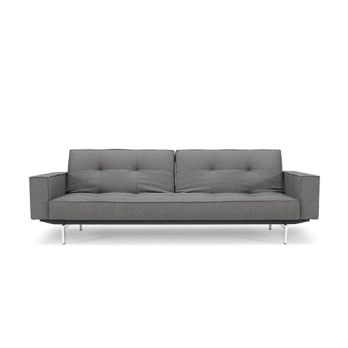 innovation splitback schlafsofa mit armlehnen grau stoff. Black Bedroom Furniture Sets. Home Design Ideas