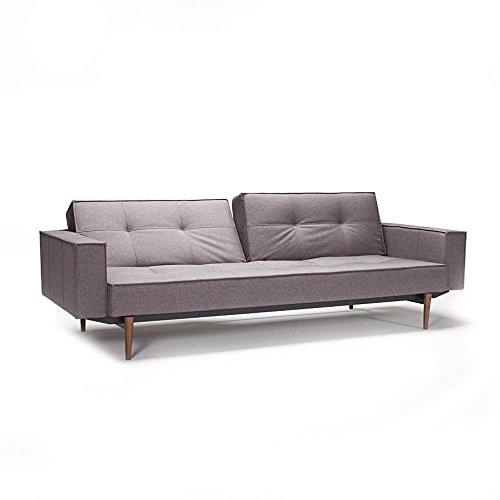 innovation splitback wood schlafsofa mit armlehnen grau gestell dunkles holz stoff 216 flashtex. Black Bedroom Furniture Sets. Home Design Ideas