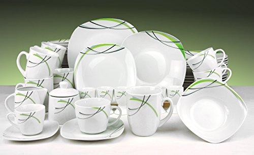 Kombiservice Donna 62tlg. - weißes Porzellan mit Linien- Dekor in schwarz, grau und grün - für 6 Personen