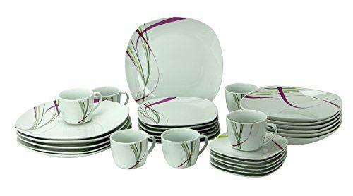 Kombiservice Fashion 30tlg. leicht eckig Porzellan für 6 Personen weiß mit Liniendekor