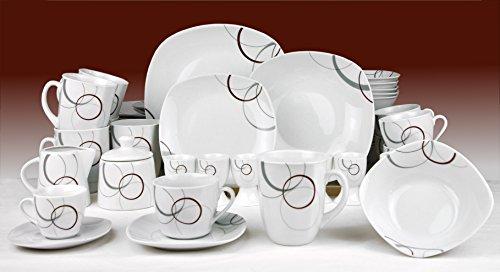 Kombiservice Palazzo 124tlg. - weißes Porzellan mit Kreise- Dekor in grau und dunkelrot - für 12 Personen
