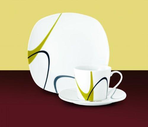 Kombiservice Tivoli 60tlg. leicht eckig Porzellan für 12 Personen weiß mit Wellendekor am Rand