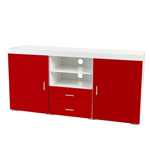 kommode portland sideboard highboard hochglanz 160x80x40cm rot m bel24. Black Bedroom Furniture Sets. Home Design Ideas
