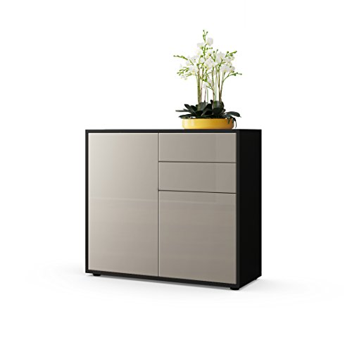 kommode sideboard ben korpus in schwarz matt fronten in sandgrau hochglanz m bel24. Black Bedroom Furniture Sets. Home Design Ideas