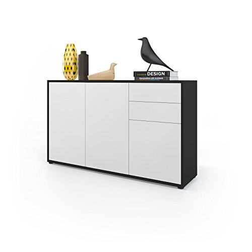 kommode sideboard ben v3 korpus in schwarz matt fronten in wei matt m bel24. Black Bedroom Furniture Sets. Home Design Ideas