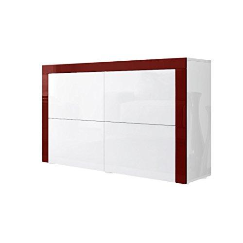 Kommode Sideboard La Paz V2 in Weiß Hochglanz / Weiß Hochglanz / Bordeaux Hochglanz