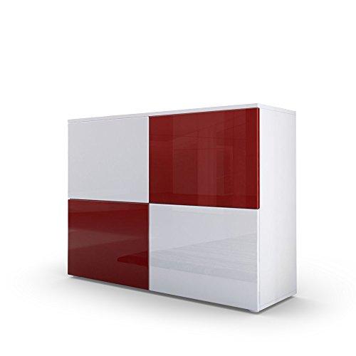 Kommode Sideboard Rova in Weiß matt / Weiß Hochglanz / Bordeaux Hochglanz