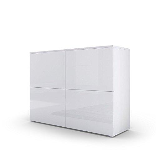 Kommode Sideboard Rova in Weiß matt / Weiß Hochglanz / Weiß Hochglanz