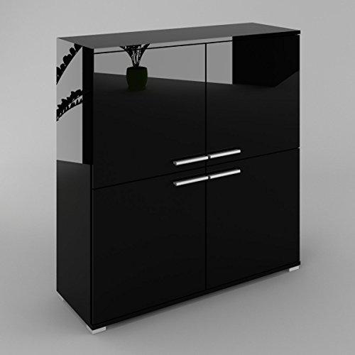 Kommode sideboard ben v3 korpus in schwarz matt fronten in wei matt m bel24 - Kommode schwarz matt ...