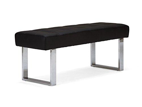 Massivum 10008736 Sitzbank Sangara Leder, schwarz, 45 x 120 x 48 cm