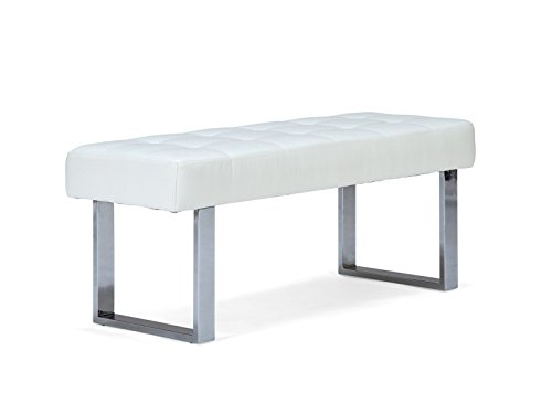 Massivum 10008737 Sitzbank Sangara Leder, weiß, 45 x 120 x 48 cm