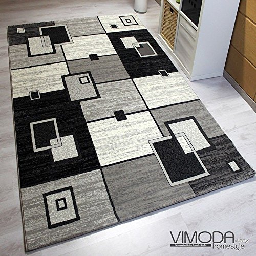 moderner designer teppich kariert retro design strapazierf hig in grau vimoda ma e 120x170. Black Bedroom Furniture Sets. Home Design Ideas