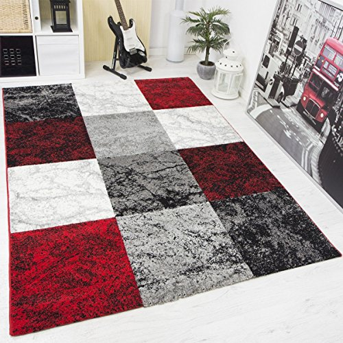 moderner designer teppich kariert handgeschnittene konturen farbe rot schwarz grau vimoda. Black Bedroom Furniture Sets. Home Design Ideas