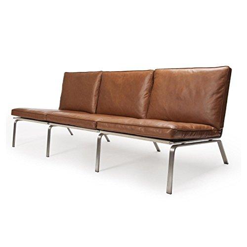 norr 11 man lounge 3 sitzer ledersofa cognac braun gestell aus gebrstetem stahl anilin leder. Black Bedroom Furniture Sets. Home Design Ideas