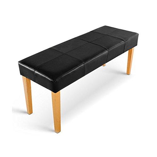 SAM® Esszimmer Sitzbank Enzio XIII in schwarz mit buche-farbigen Beinen aus Pinien-Holz, Bank in 110 cm Breite, SAMOLUX®-Bezug für angenehmen Sitzkomfort, frei aufstellbare Essbank ohne Rückenlehne