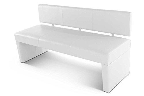 SAM® Esszimmer Sitzbank Selena, 164 cm, in weiß, Sitzbank mit Rückenlehne aus Samolux®-Bezug, angenehmer Sitzkomfort, frei im Raum aufstellbare Bank