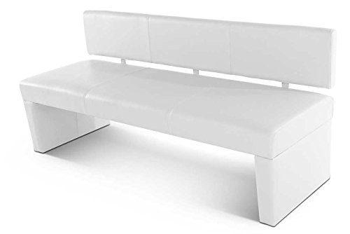 SAM® Sitzbank Selena in weiß 200 cm Bank komplett bezogen angenehme Polsterung pflegeleicht teilzerlegt Auslieferung durch Spedition teilzerlegt