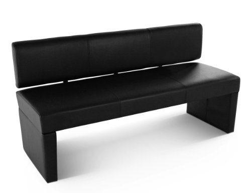SAM® Sitzbank Sofia 164 cm in schwarz, komplett bezogen, angenehme Polsterung, Sitzfläche für 3 Personen, mit durchgehender Rückenlehne